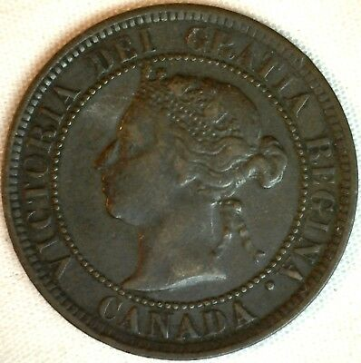 1884 Copper Canadian Large Cent One Cent Coin Very Fine #17