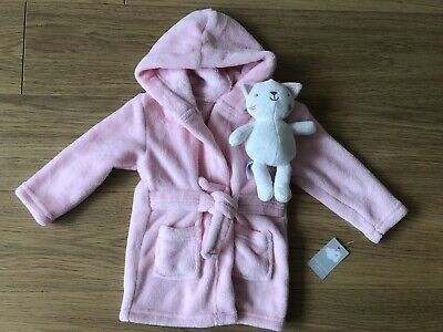 Baby Girl Dressing Gown 6-9months With Matching Soft Toy