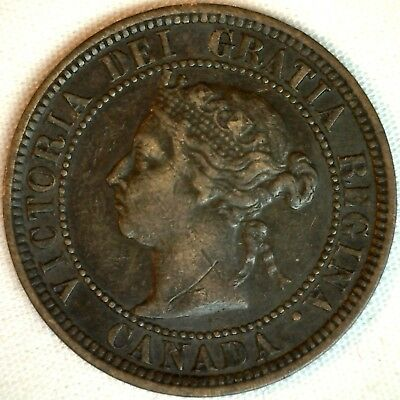 1882 H Copper Canadian Large Cent One Cent Coin Extra Fine #14