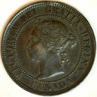 1884 Copper Canadian Large Cent One Cent Coin Very Fine #30