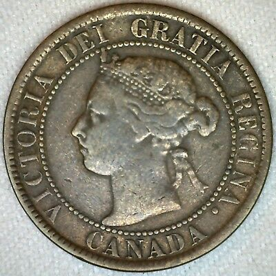 1893 Bronze Canadian Large Cent Coin One Cent Canada VG Very Good 1c K322