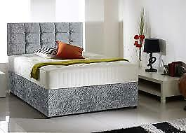 New Silver Crushed Velvet Divan Bed Set Including Memory Mattress And Headboard