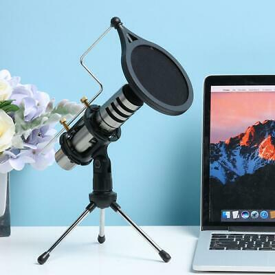 Microphone With Tripod Stand Wind Filter Audio Recording For Computer PC Desktop