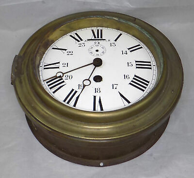 Antique Japy Freres Brass Ships Clock - Excellent Dial - Spares Or Repair