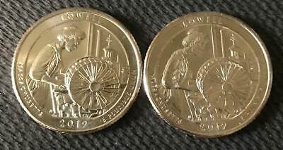 2019 P-D Uncirculated Lowell (Massachusetts) 2 Coin Atb Quarter Set