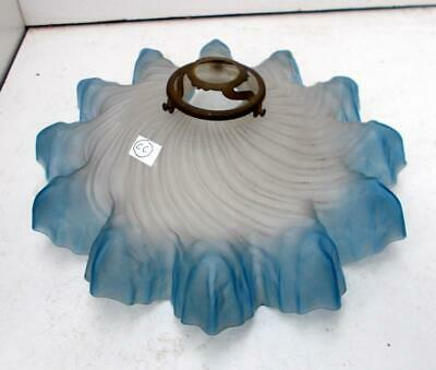 Vintage French Blue & White Glass Frilly Lampshade Lightshade + Orig Gallery #CC