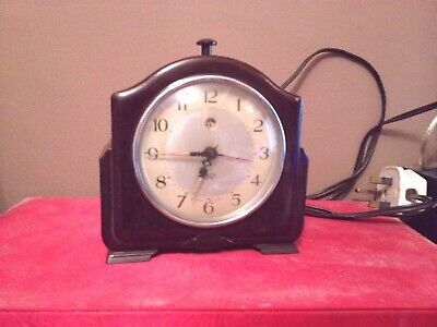 Art Deco Smiths ectric Bakelite Mantel Clock brown