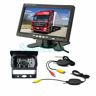 """Wireless Car Rear View Kit 7"""" Lcd Monitor +18 Ir Led Backup Camera For Bus Truck"""
