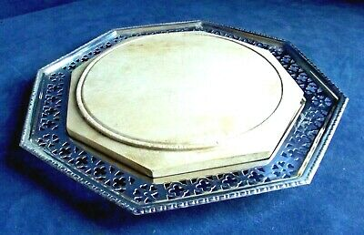 """SUPERB 11"""" ~ SILVER Plated ~ GOTHIC Style ~ Cheese / Bread PLATTER ~ c1920"""