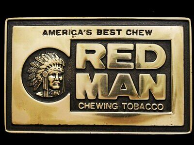 IK27146 *NOS* VINTAGE 1970s **RED MAN CHEWING TOBACCO** POLISHED BRASS BUCKLE