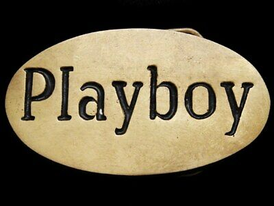 IL09173 VERY COOL VINTAGE 1970s ***PLAYBOY*** OVAL SOLID BRASS BELT BUCKLE