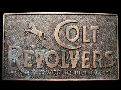 IL29141 VINTAGE 1970s **COLT REVOLVERS** FIREARMS GUNS BELT BUCKLE