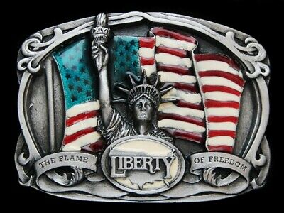 Nc25119 *Nos* Vintage 1985 **State Of Liberty The Flame Of Freedom** Belt Buckle
