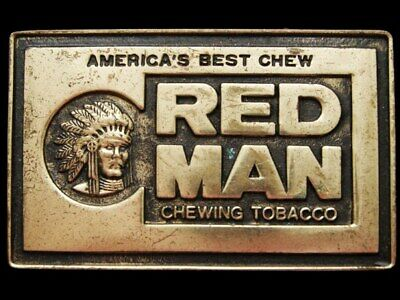 JA21172 GREAT 1970s **RED MAN CHEWING TOBACCO** INDIAN CHIEF SOLID BRASS BUCKLE