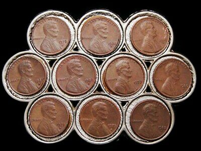 Ja23123 Very Cool **Collage Of Usa Lincoln Penny's** Belt Buckle