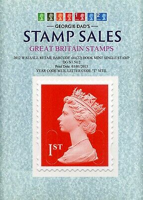 2012 1st Class Stamp Book Issue Royal Mail Red Print Date 03-01-2013 M12L/MTIL