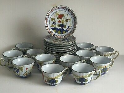24pcs Vintage BLUE CARNATION Italian Faience Faenza Art Pottery CUPS SAUCERS