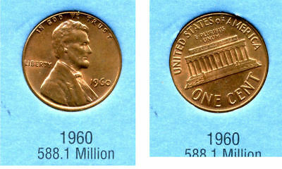 1960 P ABE Lincoln Memorial AMERICAN PENNY 1 CENT US U.S AMERICA ONE COIN #B2