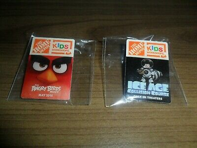 Two Home Depot Kids Workshop Pins ~ Angry Birds & Ice Age Collision Course