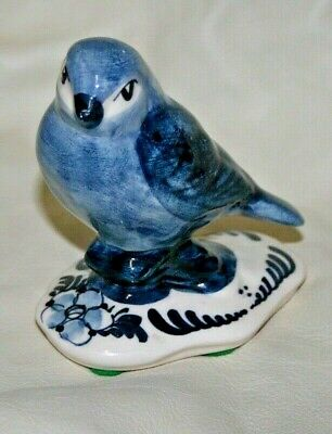 Vintage Hand Painted Delft Holland Blue & White Bird Flowers Artist Signed
