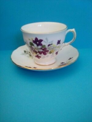 Royal Vale Bone China Cup & Saucer 8608 Clematis Pattern