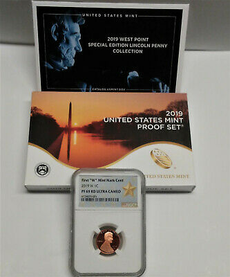 """2019 U.S. Mint Proof Set with 2019 """"W"""" Proof Lincoln Penny, NGC PF69RD UC"""