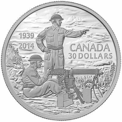 Canada 2014 $30 Declaration of WWII 75th Anniversary Pure Silver Coin Tax Exempt