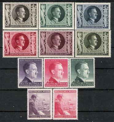 3rd Reich  Hitler's 54th Birthday All 3 Sets 1943 MNH!
