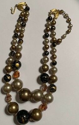 Vintage Antique Jewelry Necklace 2 Strand Pearl JAPAN Painted Glass Bead B6