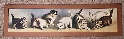 antique victorian CAT KITTEN ART PRINT ball yarn playful signed cardboard matte