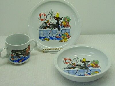 Child's 3 Pc Porcelain Dish Set-Plate, Bowl-2 Handle Cup-Villeroy & Boch Group