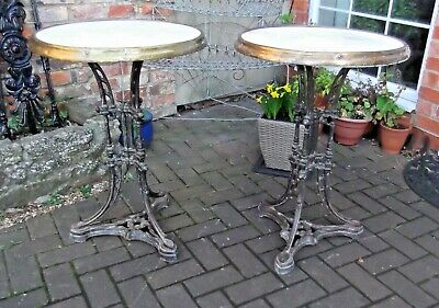 PAIR C19th CAST IRON/MARBLE FRENCH BISTRO~CAFE~PUB~GARDEN TABLES~REFURB PROJECT
