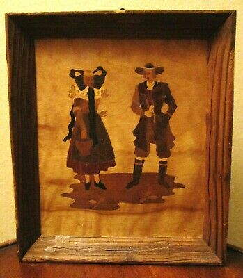 1948 Inscribed Marquetry Wood Handmade Folk Art Americana Man Woman Wall Decor