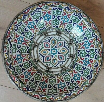 Large Moroccan Low Bowl handcrafted Pottery Metal-Silver Wall Decorative