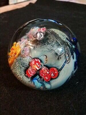 ",~ 3"" JOSH SIMPSON Inhabited Planet Art Glass Paperweight with satellite; signed"