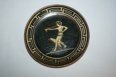 Vintage Copper Hand Painted Roman Temple Wall Plaque Plate ~ Made in Greece #1