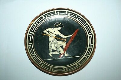 Vintage Copper Hand Painted Roman Temple Wall Plaque Plate ~ Made in Greece #2