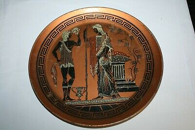 Vintage Copper Hand Painted Roman Temple Wall Plaque Plate ~ Made in Greece #3