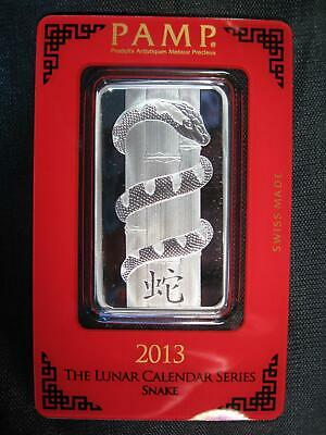 "2013 ~ ""Snake"" PAMP SWISS .999 SILVER BAR 1 OZ. SEALED ~ Pamp Suisse"