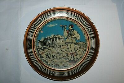 Vintage Copper Hand Painted Roman Temple Wall Plaque Plate ~ Made in Greece #4