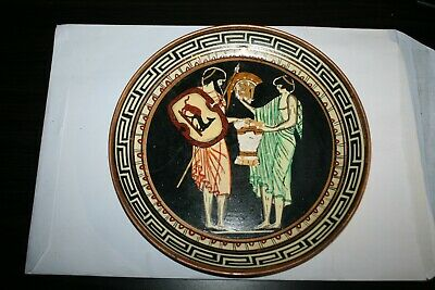 Vintage Copper Hand Painted Roman Temple Wall Plaque Plate ~ Made in Greece #5