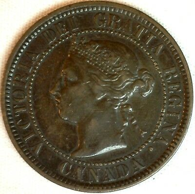 1884 Copper Canadian Large Cent One Cent Coin Very Fine #27