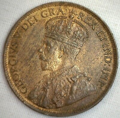 1915 Copper Canadian Large Cent Coin 1-Cent Canada AU