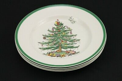 """Spode Set of 4 """"Christmas Tree"""" 10-3/4"""" Dinner Plates  Made in England"""