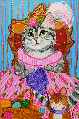 ACEO Original Cat Kitten Tabby Mouse Knitting Yarn Victorian Painting A Berbling