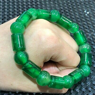 Collectible Natural Jadeite Jade Handwork Chinese Purple Beads Rare Bracelet Antiques