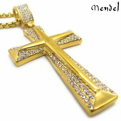 MENDEL Mens Unique Christian Gold Diamond Cross Necklace Pendant Stainless Steel