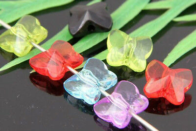 60Pcs Butterfly Mixed Acrylic Spacer Beads 10x9x5mm