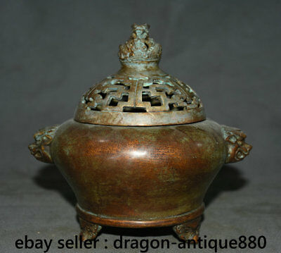 "6"" Collect Xuande Marked Old Chinese Bronze Dynasty Dragon Incense Burner Censer"