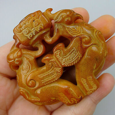 Hand Carved Double Eagles China Natural Old Jade Plate Jadeite Pendants Statue